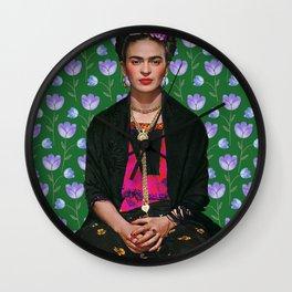 Flowers Frida Kahlo I Wall Clock