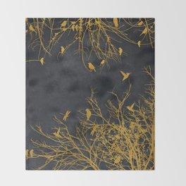 gold and black floral #goldblack #floral Throw Blanket