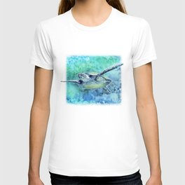 Swimming Turtle In Watercolor T-shirt