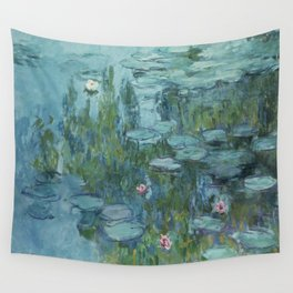 Water Lilies Monet 1915 teal Wall Tapestry