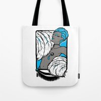 burlesque Tote Bags featuring Burlesque by Brit Austin Illustration