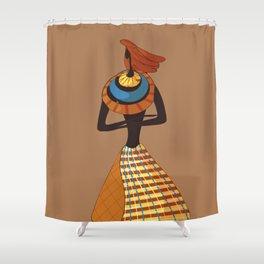 folk, cartoon , African ,women , mum, mother, mama Shower Curtain
