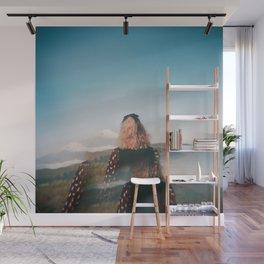 Girl Looking Out at Mount Fuji - Holga film photograph Wall Mural