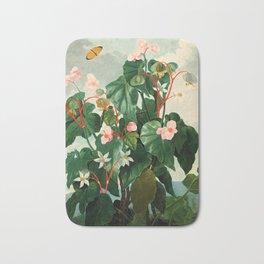 Pink Floral The Oblique-Leaved Begonias : Temple of Flora Bath Mat