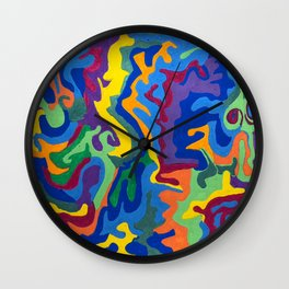 Shapes and Swirlls of Brilliant Color Wall Clock