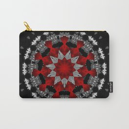 Bright Red Silver Star Flower Mandala Carry-All Pouch