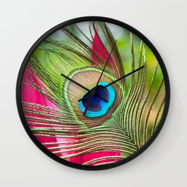 Peacock Feather in Nature Wall Clock
