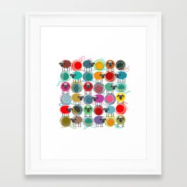 Bright Sheep and Yarn Pattern Framed Art Print