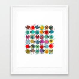 Bright Sheep and Yarn Pattern Framed Art Print