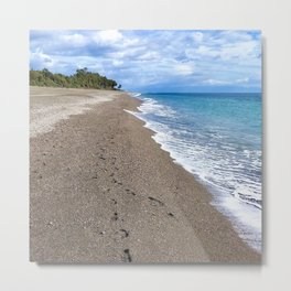 Beach w/ Footprint on Sicilian North Coast  Metal Print