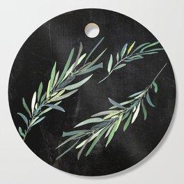 Eucalyptus leaves on chalkboard Cutting Board