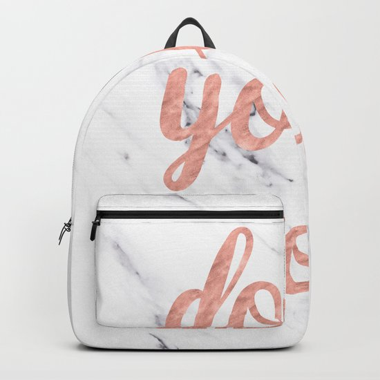 Do Your Work Rose Gold Marble Quote Backpack