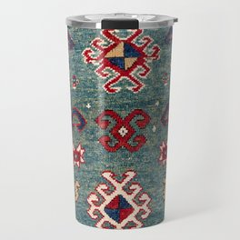 Chevron Stars // 19th Century Colorful Steel Blue Light Green Teal Checkered Ornate Accent Pattern Travel Mug