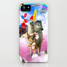 Cat Riding Llama With Sundae And Jelly Beans iPhone Case