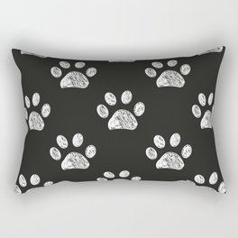 Doodle white paw print seamless fabric design repeated pattern Rectangular Pillow