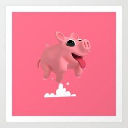 Rosa the Pig Jumps Art Print