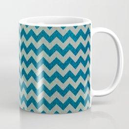Blue and Green Chevron Pattern Coffee Mug