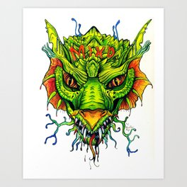 Green Mind Monster Art Print