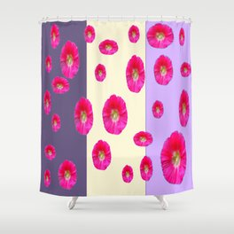 PINK-CERISE ASSORTED FLOATING HOLLYHOCK FLOWERS Shower Curtain