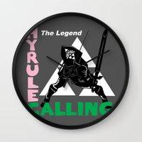 hyrule Wall Clocks featuring Hyrule Calling by machmigo