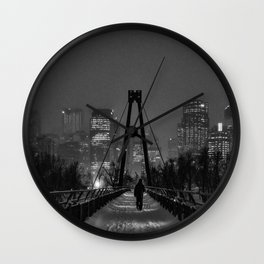 Winter Walk; Calgary in the Snow Wall Clock