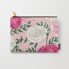 Rose Florals and Stems in Blush Carry-All Pouch