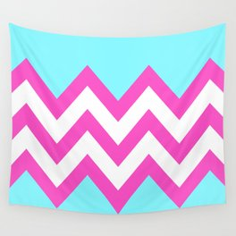 TEAL & PINK CHEVRON COLORBLOCK Wall Tapestry