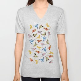 Vintage Wallpaper Birds Unisex V-Neck
