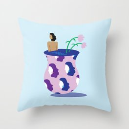 Surreal Woman in Flower Vase Illustration Throw Pillow