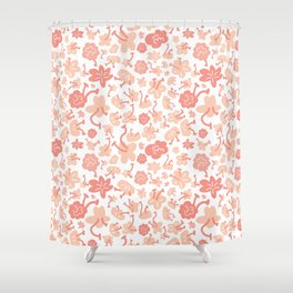 Baby pink botanical illustration pattern, home decor, organic flowers, bright and light hand drawing Shower Curtain
