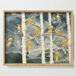 Hoopoes in the forest Serving Tray