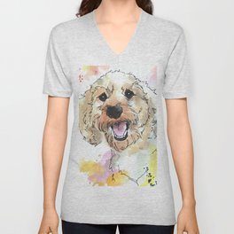Joyful Peaches Poodle Unisex V-Neck