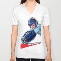 megaman V-neck T-shirts featuring Megaman Fanart by avimHarZ