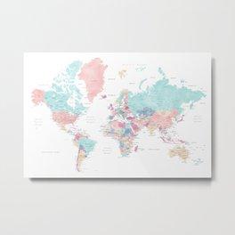 Detailed watercolor world map Carmen Metal Print