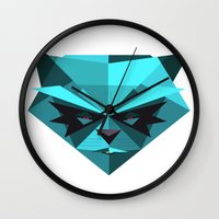 racoon Wall Clocks featuring Rocky Racoon by rybbrybson