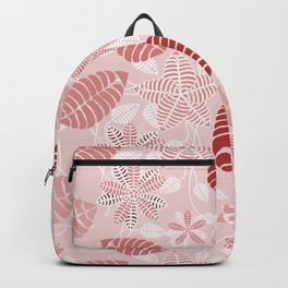 Red and White Floral Leaf Pattern shades of red Backpack