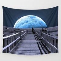 sparrow Wall Tapestries featuring Once in a blue moon by Donuts