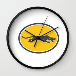 Black Panther Prowling Oval Retro Wall Clock