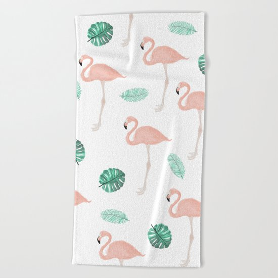 Hand painted pastel  pink flamingo tropical leaf watercolor pattern Beach Towel