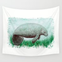 obey Wall Tapestries featuring The Manatee ~ Watercolor by Amber Marine by Amber Marine