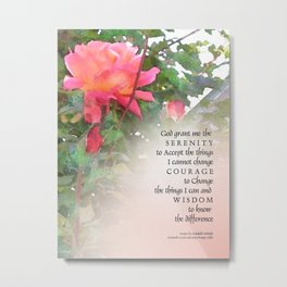 Serenity Prayer Pink Rose Two Buds Metal Print