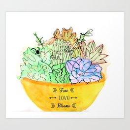 True Love Blooms Succlents Art Print