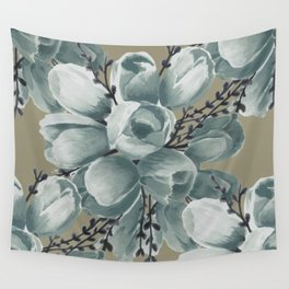 Spring Tulips Neutral  Wall Tapestry