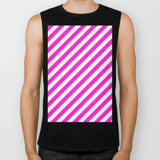 Diagonal Stripes (Hot Magenta/White) Biker Tank