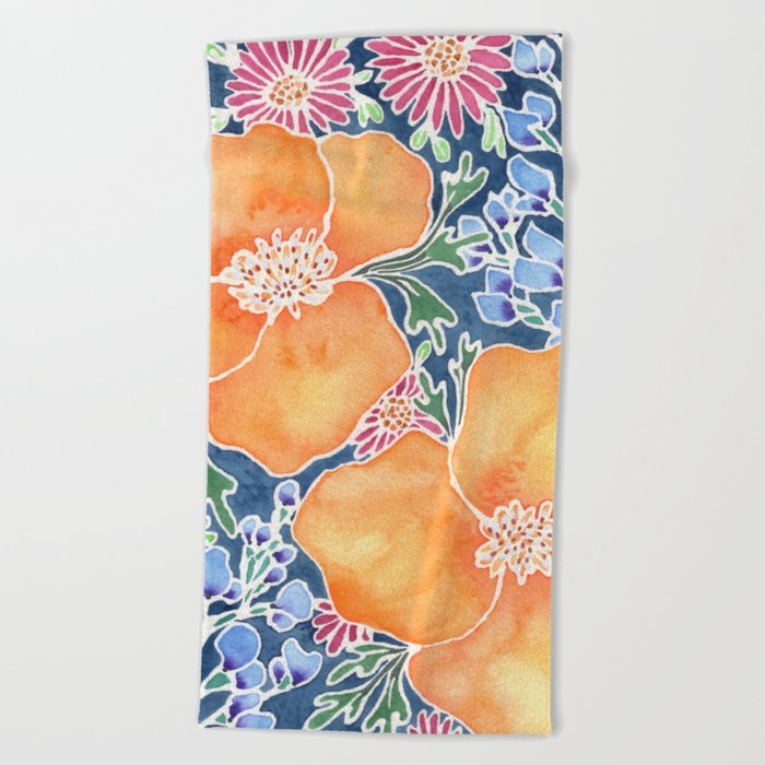 Masked Flora Collection Poppies Beach Towel