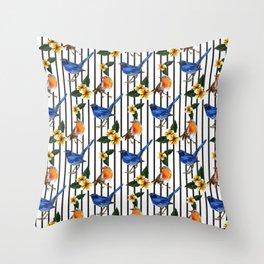 Finches bird striped pattern Throw Pillow