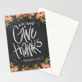 Floral Give Thanks   1 Thessalonians 5:18 Stationery Cards
