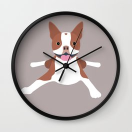 red boston terrier Wall Clock