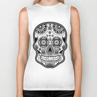 sugar skull Biker Tanks featuring sugar skull by Ancello