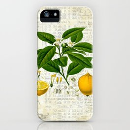 Lemon Botanical print on antique almanac collage iPhone Case